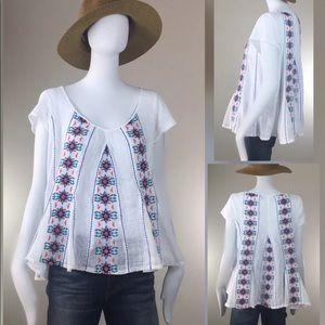 Anthropologie Embroidered Swing Tunic Top M